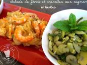 Salade fèves crevettes oignons herbes
