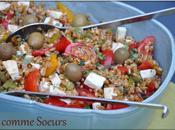 Salade petit épeautre poivrons grillés