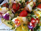Brochettes Joues lotte épices Cajun plancha