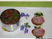 Lentilles vertes facon risotto, andouille d'ajol vinaigrette herbes...