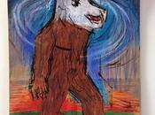 """Homme animal"", dessin papier brun alimentaire."