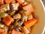 Tajine poulet carottes olives vertes