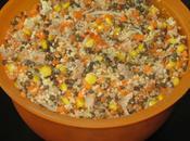 Salade lentilles, semoule, carotte, maïs, thon, soja