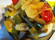 Tartines d'aubergines noix pétoncle mozzarella