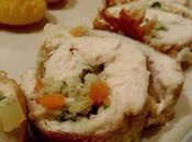 Repas fête Médaillons poulet farcis légumes sauce champignons Paris Pommes croquettes
