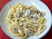 Tagliatelles crème, champignons, basilic blanc
