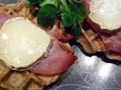 Gaufres gourmandes carotte, chèvre prosciutto Greedy Waffles with Carrot, Goat Cheese Proscuitto