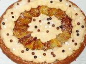 Fondant chocolat, pommes caramélisées, crème pâtissière
