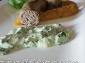 Crème persil purée d'amande crème soja, saucisses veau potiron épices