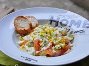 Salade Poireaux tièdes truite fumée, oeuf Mimosa