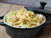 Linguines crevettes poireaux