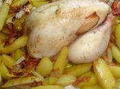 Petits oignons pommes terre, coquelet four