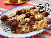 Brochettes poulet saucisse Morteau, sauce cancoillotte