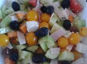 Salade concombre, tomate, feta poulet