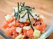 Tartare saumon, pomme grany, fromage frais, feuilles nori