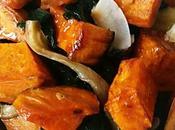 Poêlée d'épinard, pleurotes patate douce curry