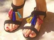 Look Mode robe sandales pompons