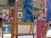 Magne (79) ième festival peinture exposition toiles place l'église toile réalisée lors festival!