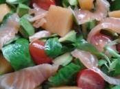 Salade d'avocat, melon, saumon
