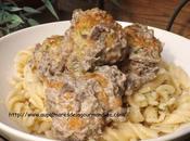 Boulettes poulet avec sauce champignons- Polpettes-
