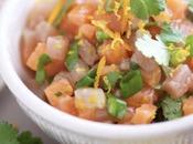 Tartare saumon thon coriandre, agrumes huile gingembre
