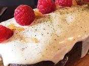 recette fait bien: cake matcha, framboises chocolat blanc