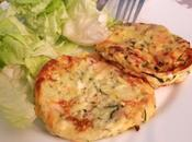 Galettes courgettes fromage blanc, feta, basilic, jambon