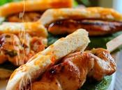~Mini hot-dogs brochettes poulet miel, moutarde basilic~