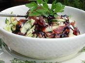Salade courgettes, jambon fumé chèvre vinaigrette mûres