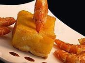 Tatin mangues gambas, sauce poivree miel porto