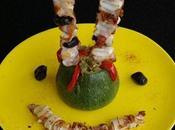 Courgette farcie légumes brochettes calamars cochon