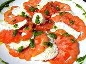 Carpaccio Tomates Mozzarella Pesto Mâche