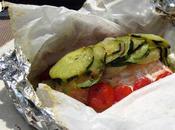 Papillote saumon, courgettes, tomates pommes terre nouvelles