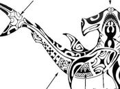 Motif tatouage polynésien requin marteau.