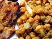 Pois chiches aromatiques grillades porc
