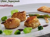 Coquilles saint-jacques panees chips crevettes brocoli