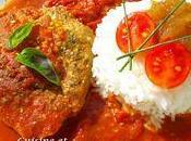 Steak thon rouge coulis tomate chutney pommes