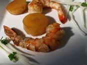 Gambas caramélisées variations daïkon glacé crustacé badiane croquant coriandre