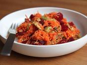 Salade carottes râpées betteraves, avocat noix