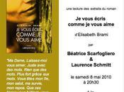 Rappel vous écris comme aime lecture d'extraits romans d'Elisabeth Brami 2010 Barbières