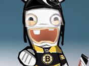 Lapin crétin joue hockey avec Bruins Boston