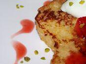Brioche perdue lait d'amande, poelée fraises miel mousse mascarpone pistache