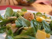 petite salade d'été toute simple mangue crevettes