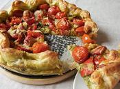 Tarte fine pesto, poivrons tomates cerises