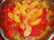 Salade pêches poivrons l'huile d'argan petit délice gourmandise
