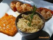 POELEE GAMBAS & ROUGAIL D'ABRICOTS CITRON GINGEMBRE