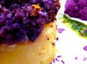 Gratin sablée chou fleur violet, émulsion basilic