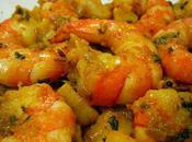 Crevettes sautés graines cumin moutarde Stir fried shrimp with mustard seeds