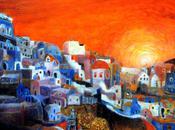 cours gratuit peinture l'huile Santorin nuit