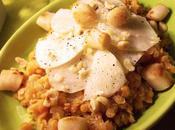 Salade lentilles corail, topinambours Saint-Jacques, sauce l'huile noix, citron noisettes raffinée, saine délicieuse